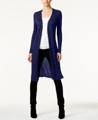 Inc International Concepts Ribbed Duster Cardigan Only At Macy's Tartan Blue