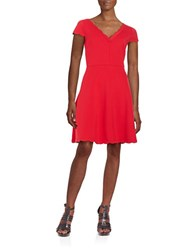 Betsey Johnson Scalloped Fit And Flare Dress Red