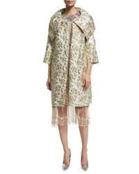 Libertine 3 4 Sleeve Brocade Coat W Bead Embellishment Gold