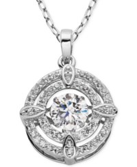 Giani Bernini Fluttering Cubic Zirconia Double Circle Pendant Necklace In Sterling Silver