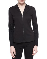 Elie Tahari Verna Textured Sleeve Zip Blouse Black