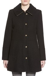 Women's Jessica Simpson Basket Weave Fit And Flare Coat Black