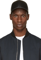 Neil Barrett Black Leather Baseball Cap