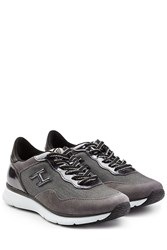 Hogan Suede And Patent Leather Sneakers Grey