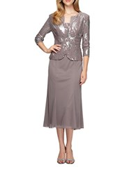Alex Evenings Petite Sequined Popover Gown And Jacket Pewter