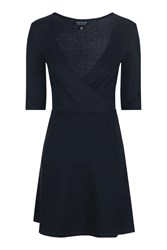 Topshop Jersey Wrap Dress Navy Blue