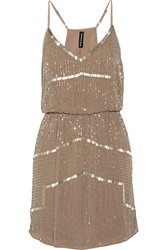 W118 By Walter Baker Destiny Bead Embellished Chiffon Dress Brown