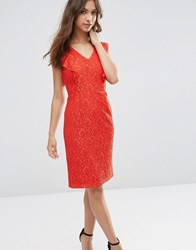 Asos Ruffle Lace Pencil Dress Red