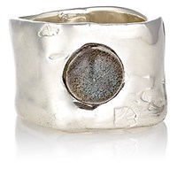 Ali Grace Women's Labradorite Cabochon Wide Band Ring Silver