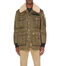 Dsquared Shearling Collar Shell Jacket Military
