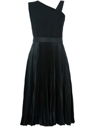 Christopher Kane Asymmetric Pleated Midi Dress Black