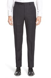 Armani Collezioni Men's Flat Front Check Wool Trousers Charcoal