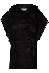 Isabel Marant Elma Fringed Cotton And Linen Blend Hooded Gilet Black