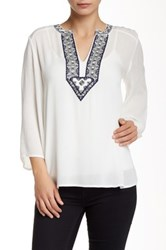 Andree By Unit 3 4 Length Sleeve Embroidered Peasant Blouse White
