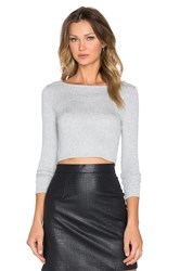 Lanston Cropped Boatneck Long Sleeve Top Gray