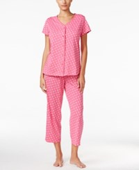 Charter Club Loop Trimmed Top And Cropped Pants Pajama Set Only At Macy's Pink Dots