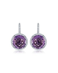 Diana M. Jewels 14K White Gold Round Amethyst And Diamond Drop Earrings 0.9 L