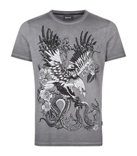 Just Cavalli Eagle Snake Print T Shirt Male Grey