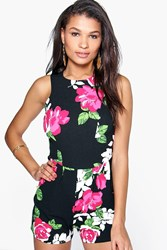 Boohoo Floral Print Sleeveless Playsuit Black