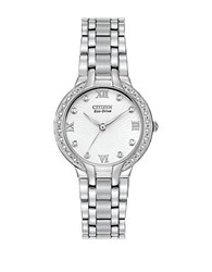 Citizen Ladies Eco Drive Bella In Stainless Steel With Diamond Accents On Bezel And Dial Silver
