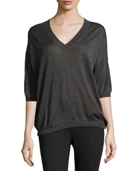 Minnie Rose V Neck Everyday Sweater Charcoal Gray