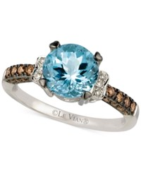 Le Vian Chocolatier Aquamarine 1 1 5 Ct. T.W. And Diamond 1 4 Ct. T.W. Ring In 14K White Gold