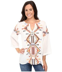 Roper 0498 Rayon Tunic W Embroidery White Women's Blouse