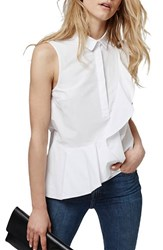 Women's Topshop Sleeveless Ruffle Shirt