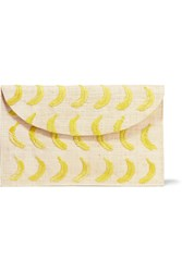 Kayu Embroidered Woven Straw Clutch Yellow