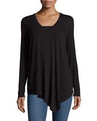Neiman Marcus Lightweight Long Sleeve Lace Back Tee Black