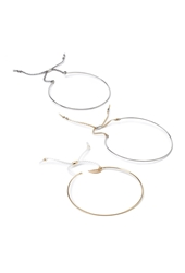 Forever 21 String Trimmed Bangle Set Silver White