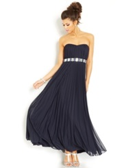 Teeze Me Juniors' Pleated Strapless Gown