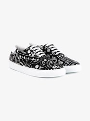 Joshua Sanders Bandana Print Wool Low Top Sneakers Black White Denim