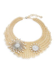 Rj Graziano Chainlink Mesh Star Accented Bib Necklace Gold