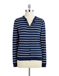 Lord And Taylor Plus Striped Cardigan Blue