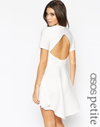 Asos Petite Skater Dress In Texture With Cut Out Back And Hem Ivory