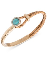 Lonna And Lilly Gold Tone Light Brown Leather Blue Stone Pave Bracelet