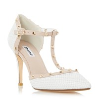 Dune Cliopatra Studded T Bar Court Shoes White