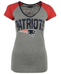 5Th And Ocean Women's New England Patriots Sequin T Shirt Gray Red