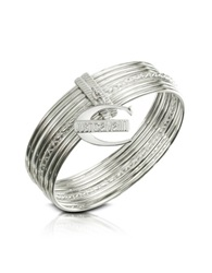 Just Cavalli Infinity Logo Charm Stacked Bangle Bracelet Silver