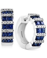 Effy Final Call Sapphire 1 9 10 Ct. T.W. And Diamond 1 5 Ct. T.W. Hoop Earrings In 14K White Gold