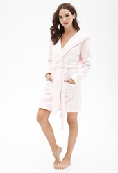 Forever 21 Fuzzy Polka Dot Bathrobe Pink White