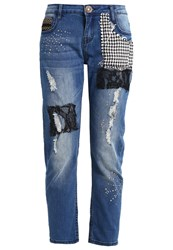 Desigual Straight Leg Jeans Denim Medium Wash Blue