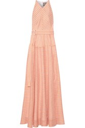 Lela Rose Striped Cotton Pastel Orange