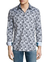 Robert Graham Malta Geometric Print Sport Shirt Charcoal Grey