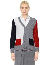 Thom Browne Color Block Merino Wool Cardigan