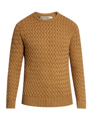 Gieves And Hawkes Crew Neck Wool Mohair Blend Sweater Camel