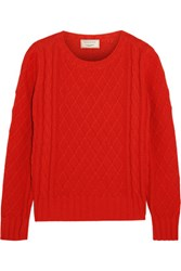 Maison Kitsune Cable Knit Cotton Sweater Red