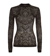 Balmain Lace Knit Long Sleeve Top Female Black