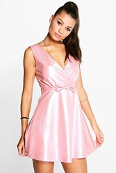 Boohoo Tanya Shimmer Textured Skater Dress Pink